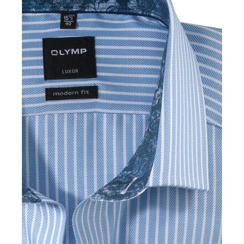 OLYMP Luxor modern fit karcsúsított kék hosszú ujjú ing