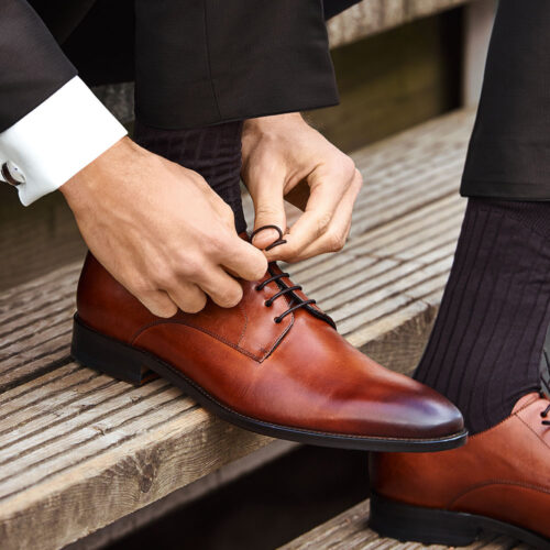 férfi barna bőr cipő
