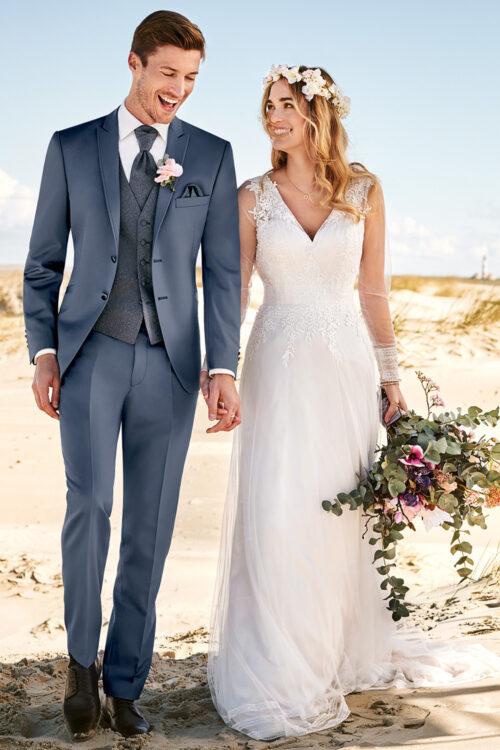 WILVORST szürkéskék esküvői öltöny vőlegényeknek Art. 481102-36