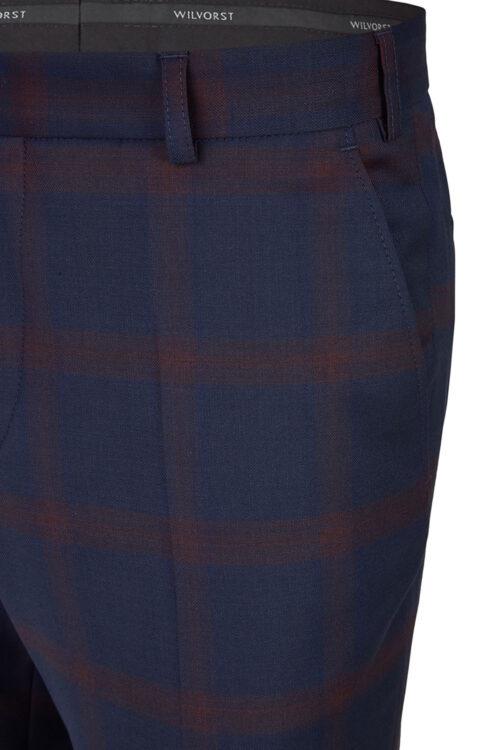 WILVORST slim fit kockás sötétkék szmoking nadrág részletek 404106-50 Modell 724