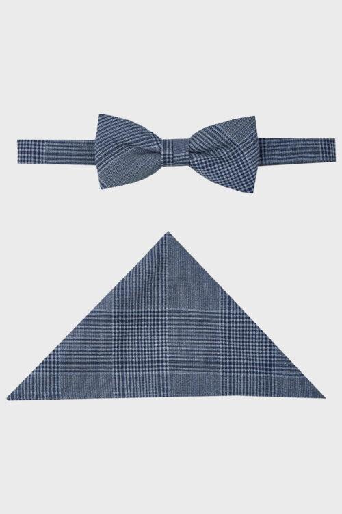 WILVORST kék kockás csokornyakkendő és díszzsebkendő 404101-34 0424